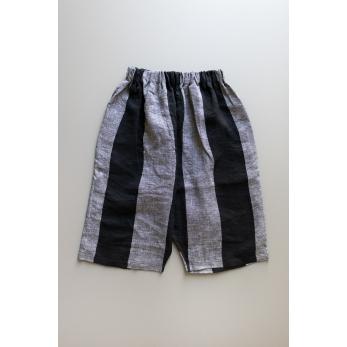 Unisex short, black stripes linen