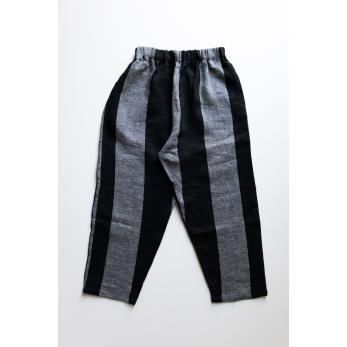 Pantalon classique, lin rayures noires