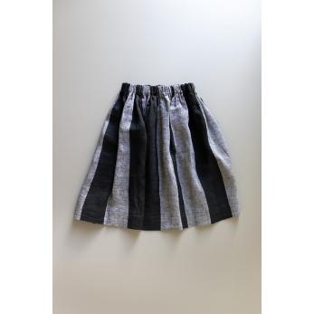 Skirt, black stripes linen