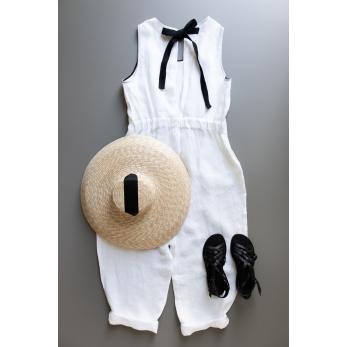Bow jumpsuit, white linen