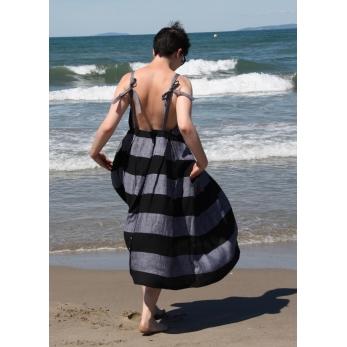 Robe longue à bretelles, lin rayures noires