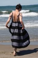 Long strap dress, black stripes linen
