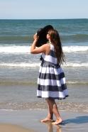 Pleated bow dress, white stripes linen
