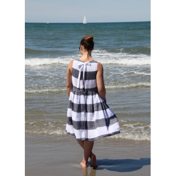 Pleated bow dress, white stripes linen