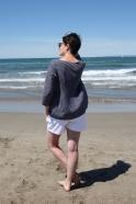3/4 sleeves blouse squared neck, dark stripes linen