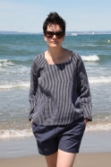 Blouse manches longues col carré, lin rayures sombres