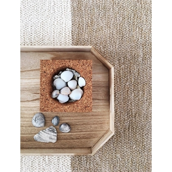 color block rug, natural