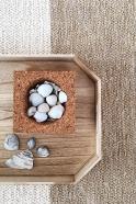 color block rug, natural