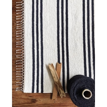 tapis Beja, rayures noires et blanches