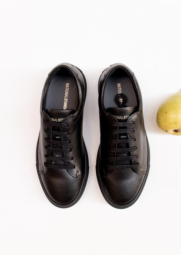 Baskets, cuir noir