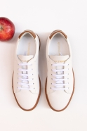 Sneakers, white and cognac leather