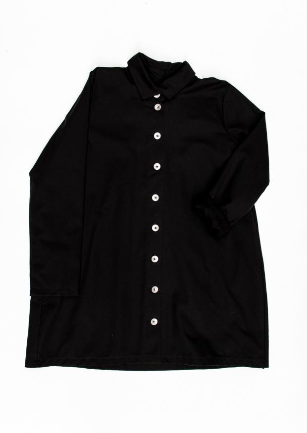 Coat, black denim