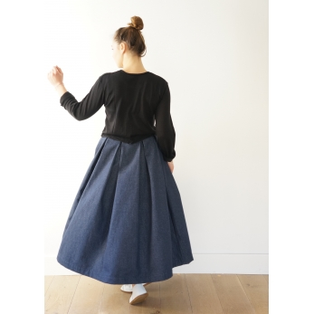 Pleated skirt, blue denim
