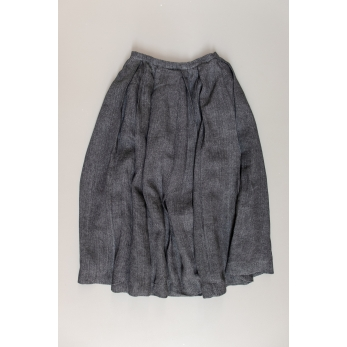 Pleated skirt, grey heavy linen