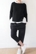 Top ouvert, jersey épais noir