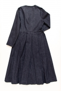 Wrap dress, blue recycled denim
