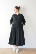 Wrap dress, black denim