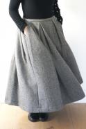 Robe bi-matière, drap chevron