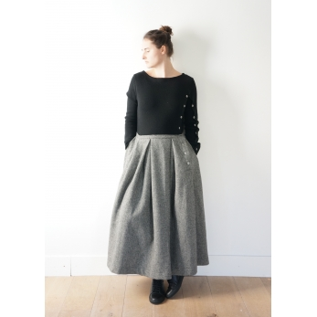 """""""Trompe l'oeil"""" dress, herringbone wool drap"""