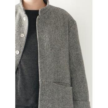 Flared coat, herringbone wool drap