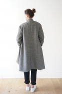 Flared coat, herringbone wool drap