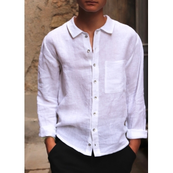 Man shirt, white linen