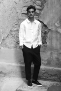 Man shirt, white linen