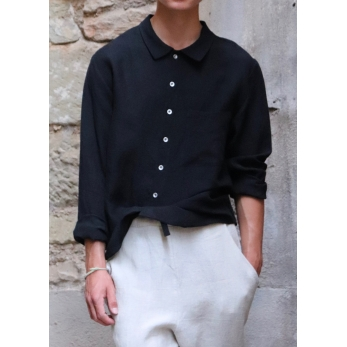 Man shirt, black linen
