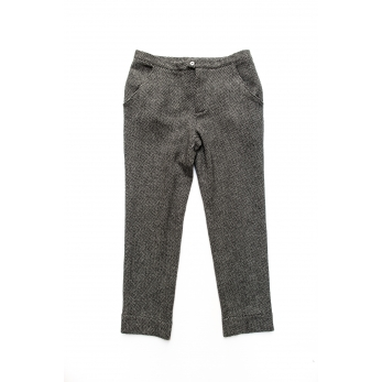 Man trousers, herringbone wool drap