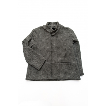 Flared jacket, herringbone wool drap