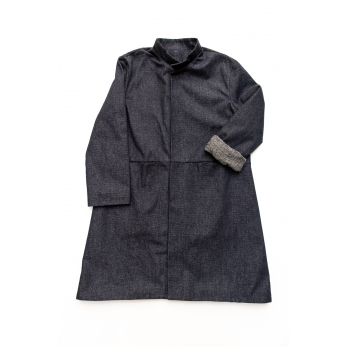 Manteau évasé, jean recyclé bleu