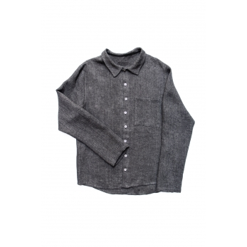 Man shirt, grey heavy linen
