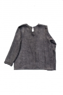 Long sleeves blouse round neck, grey heavy linen
