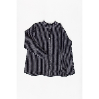Pleated shirt, dark stripes linen