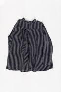 Chemise à plis, lin rayures sombres