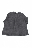 Pleated shirt, grey heavy linen