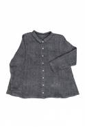 Chemise à plis, lin épais gris