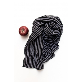 Scarf, dark stripes linen