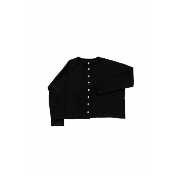 Short cardigan, black heavy knit