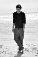 Pantalon droit Uniforme, lin rayures sombres