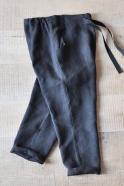 Uniform straight trousers, black linen