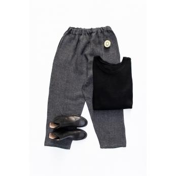 Pantalon classique, lin épais gris