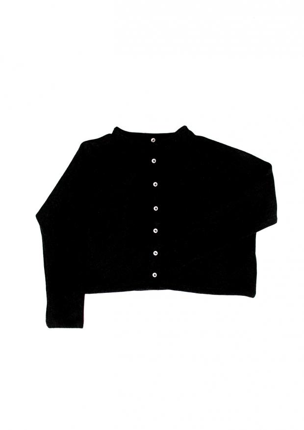 Short cardigan, black knit