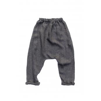 Pantalon sarouel, lin épais gris