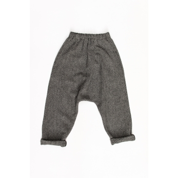 Saroual trousers, herringbone wool drap