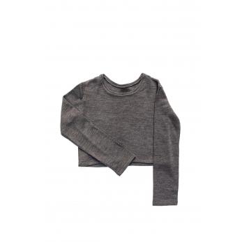 Pull court, jersey épais gris clair
