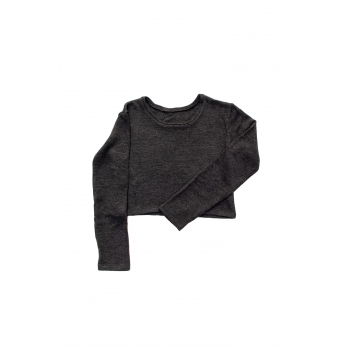 Short sweater, dark grey heavy sweater