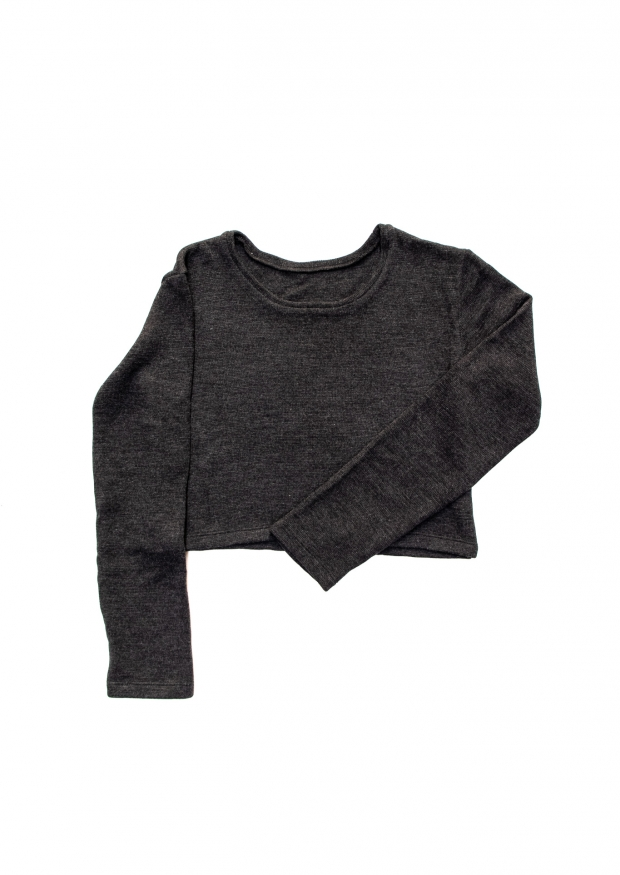 Short sweater, dark grey heavy sweater