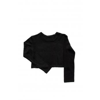 Short sweater, black heavy sweater