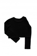 Pull court, jersey épais noir